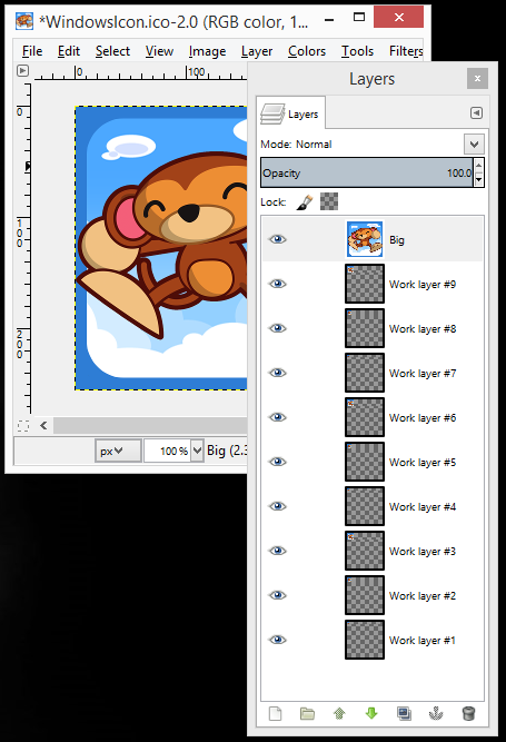 Ookibloks icon layers in Gimp after running iconify